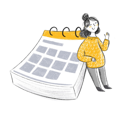 Workshops mit Barbara Pachl-Eberhart Mädchen-Illu mit Kalender