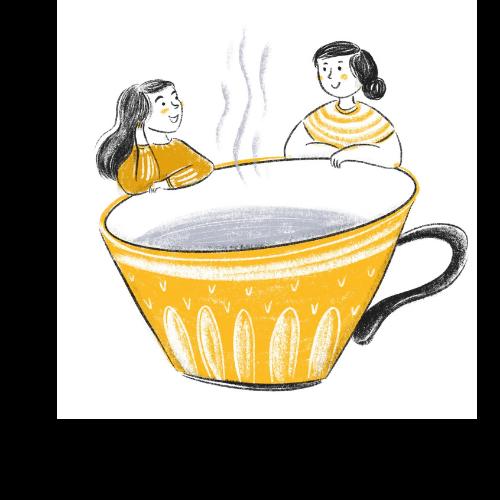 Schreibcoaching von Barbara Pachl-Eberhart Illustration zwei Mädchen bei Kaffeetasse
